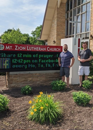Volunteers outside of Mt. Zion Lutheran Church